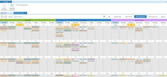 Business App Schedule Gruppenkalender: Monatsübersicht